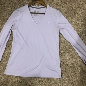 Nike Dri-Fit Lavender Relaxed Fit Long Sleeve Top